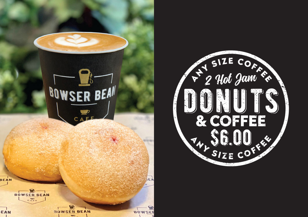 Coffee and 2 Jam Donuts for $6